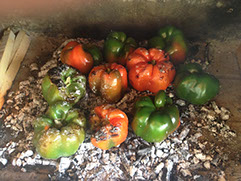 We are grilling or roasting peppers directly on ash wood embers.  This is a great technique to infuse wood flavoring directly to the peppers